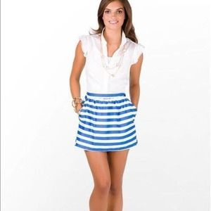 Lilly Pulitzer Blue White Striped Mimosa Skirt M